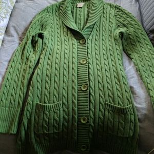 Emerald green cable knit sweater